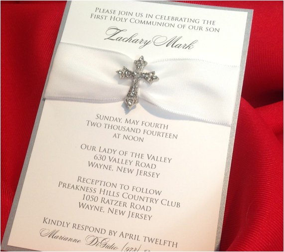 Fancy Baptism Invitations Munion Baptism Christening Fancy White and Silver Shimmer