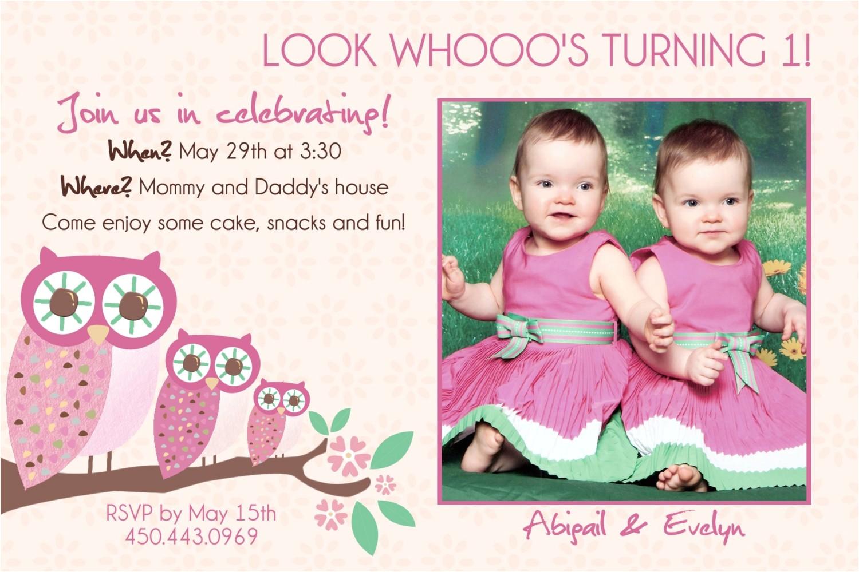 First Birthday Invitations for Twins Twins 1st Birthday Invitation You Print