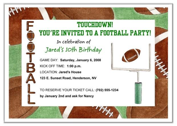 Football Birthday Party Invitation Wording Football Birthday Party Invitations