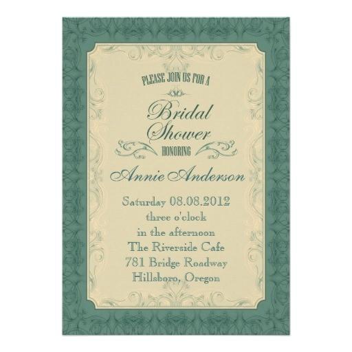 Formal Bridal Shower Invitations formal Teal Champagne Bridal Shower Invitation