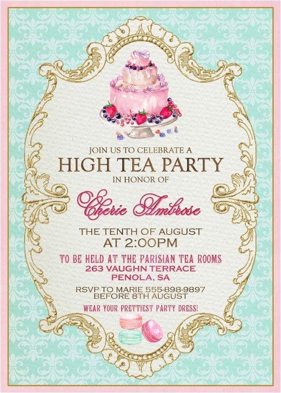 Formal Tea Party Invitation Wording High Tea Invitation Template Invitation Templates J9tztmxz