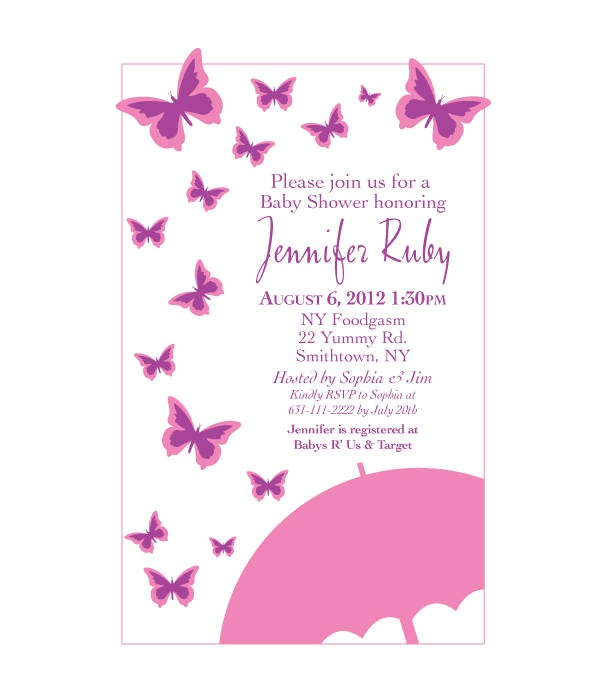 Free butterfly Baby Shower Invitation Templates butterfly Invitation Templates 10 Free Psd Vector Ai