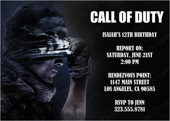 Free Call Of Duty Birthday Party Invitations Call Of Duty Birthday Party theme Ideas & Supplies