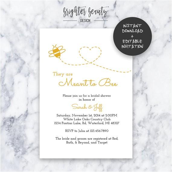 Free Instant Download Bridal Shower Invitations Meant to Bee Bridal Shower Invitation Instant Download