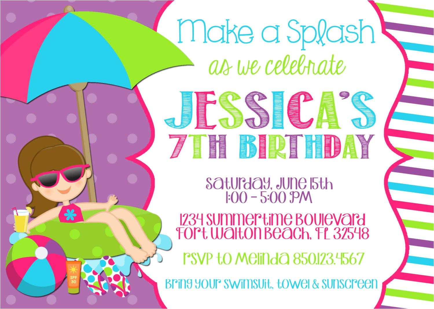 Free Pool Party Invitation Ideas Pool Party Invitation Wording Template Markit2d