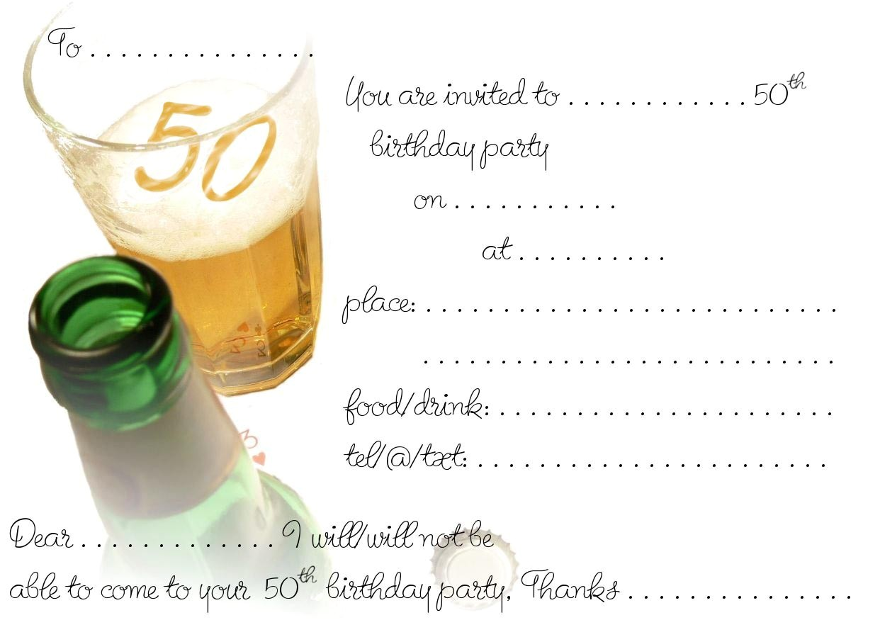 Free Printable 50th Birthday Invitations Free Printable 50th Birthday Invitations