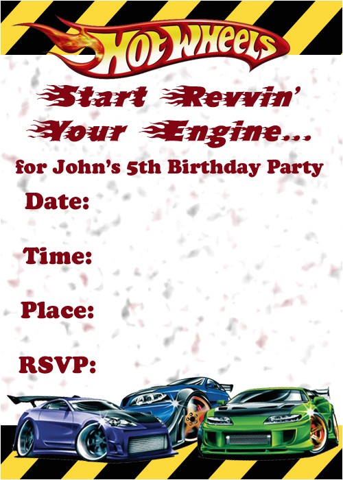 Free Printable Hot Wheels Party Invitations Invitations