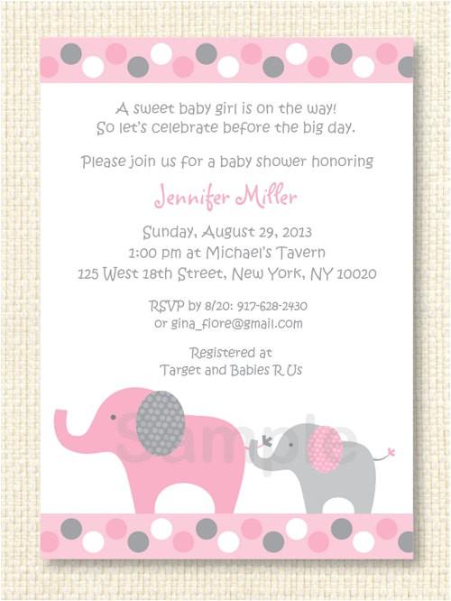 Free Printable Pink Elephant Baby Shower Invitations Polka Dot Pink Elephant Baby Shower Invitation Printable