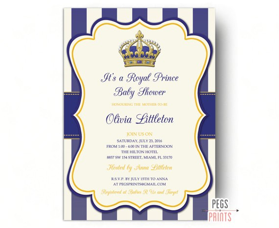 Free Royal Prince Baby Shower Invitation Template Royal Prince Baby Shower Invitations Little Prince Baby