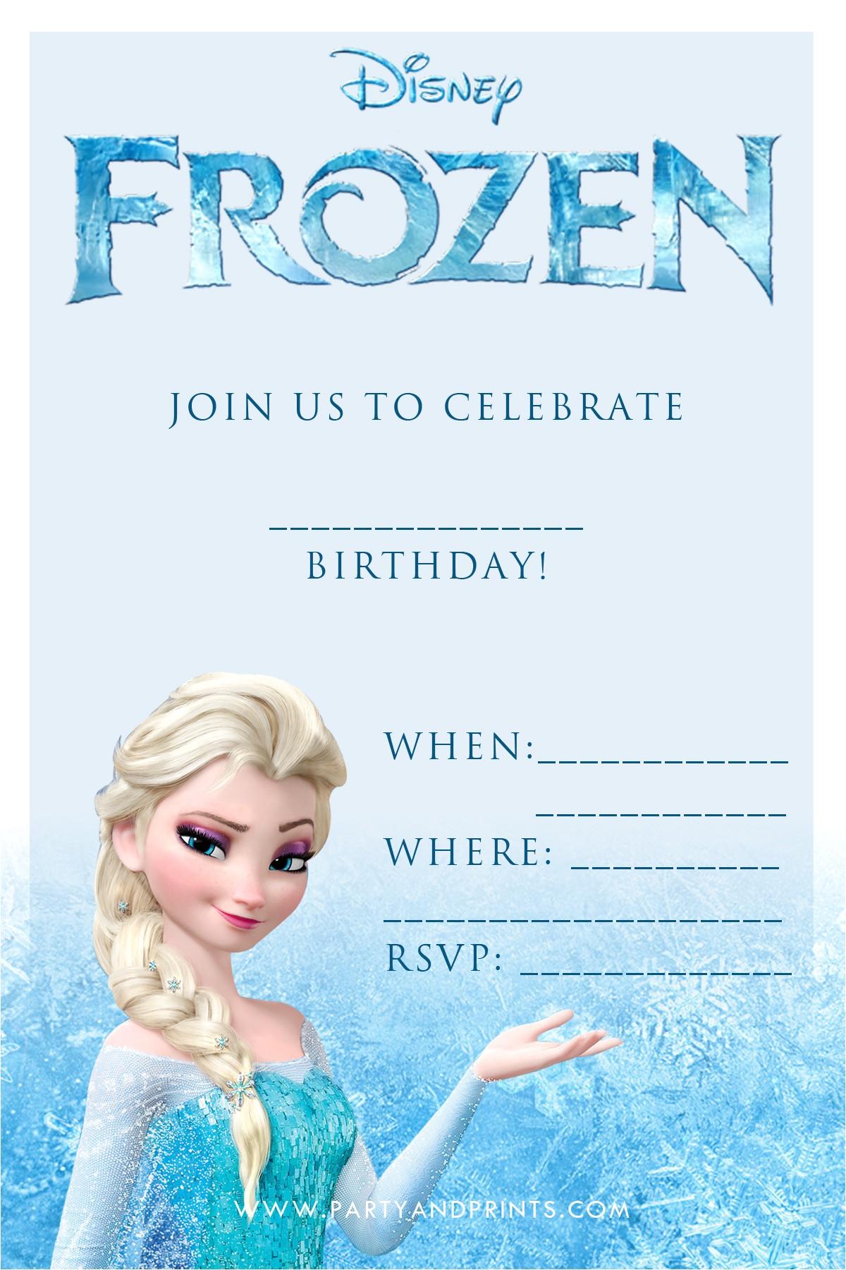 Frozen Birthday Invitations Printable 20 Frozen Birthday Party Ideas