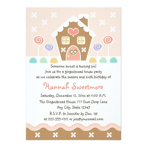 Gingerbread Birthday Party Invitations Pink Gingerbread House Birthday Party Invitations Zazzle