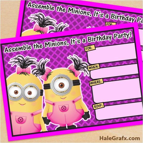Girl Minion Party Invitations Free Printable Despicable Me Girl Minion Birthday