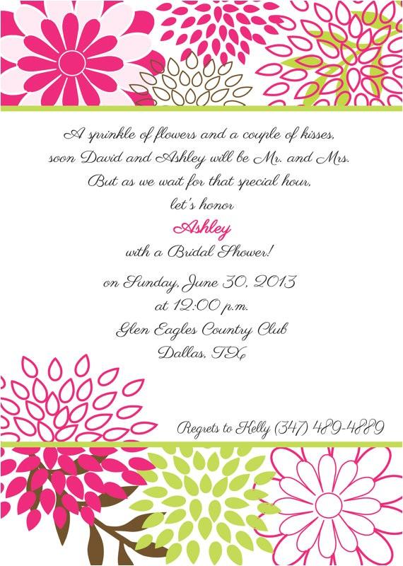 Green Bridal Shower Invitation Wording Bridal Shower Invitation Pink and Green Floral