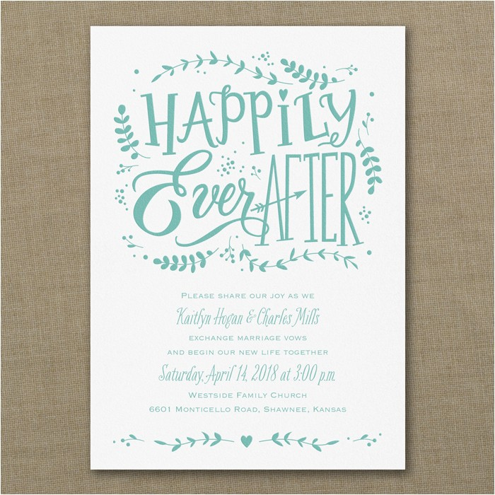 Happily Ever after Party Invitations Whimsical Fairytale Wedding Invitations Little Flamingo