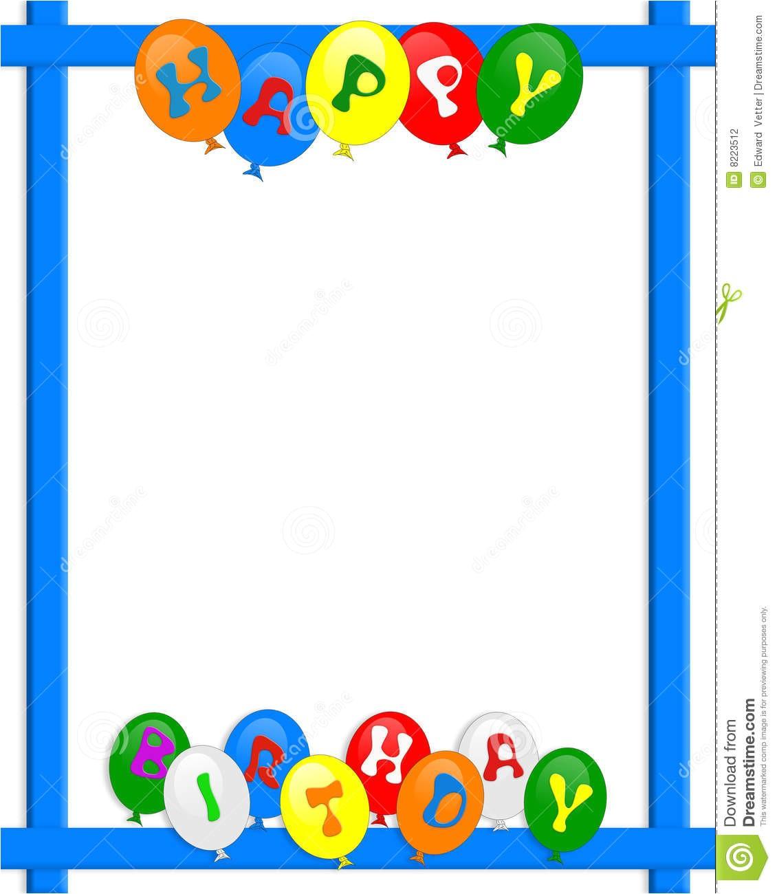 Happy Birthday Invitation Frames Happy Birthday Balloons Border Frame Stock Illustration