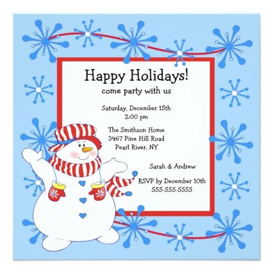 Happy Holidays Party Invitation Snowman Happy Holiday Christmas Party Invitation Zazzle Ca