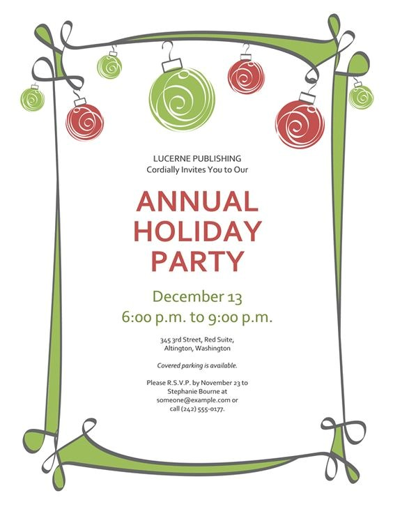 Holiday Party Invitation Examples Free Printable Christmas Invitations Template Printables