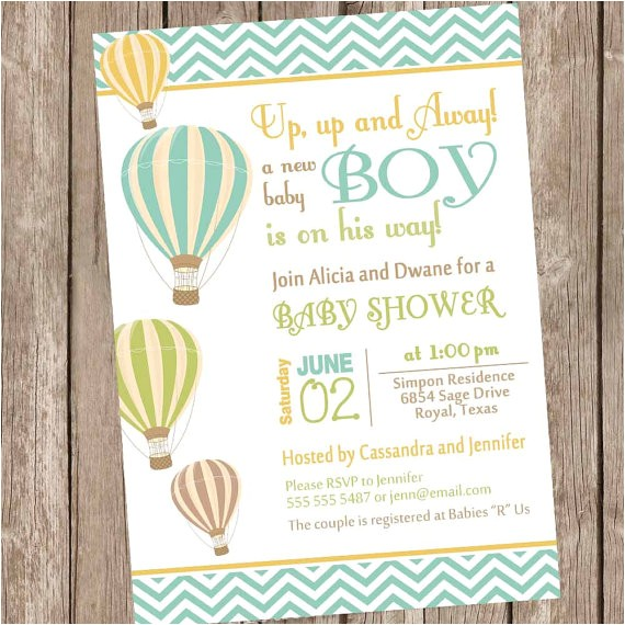 Hot Air Balloon themed Baby Shower Invitations Chevron Hot Air Balloon Baby Shower Invitation Up Up and