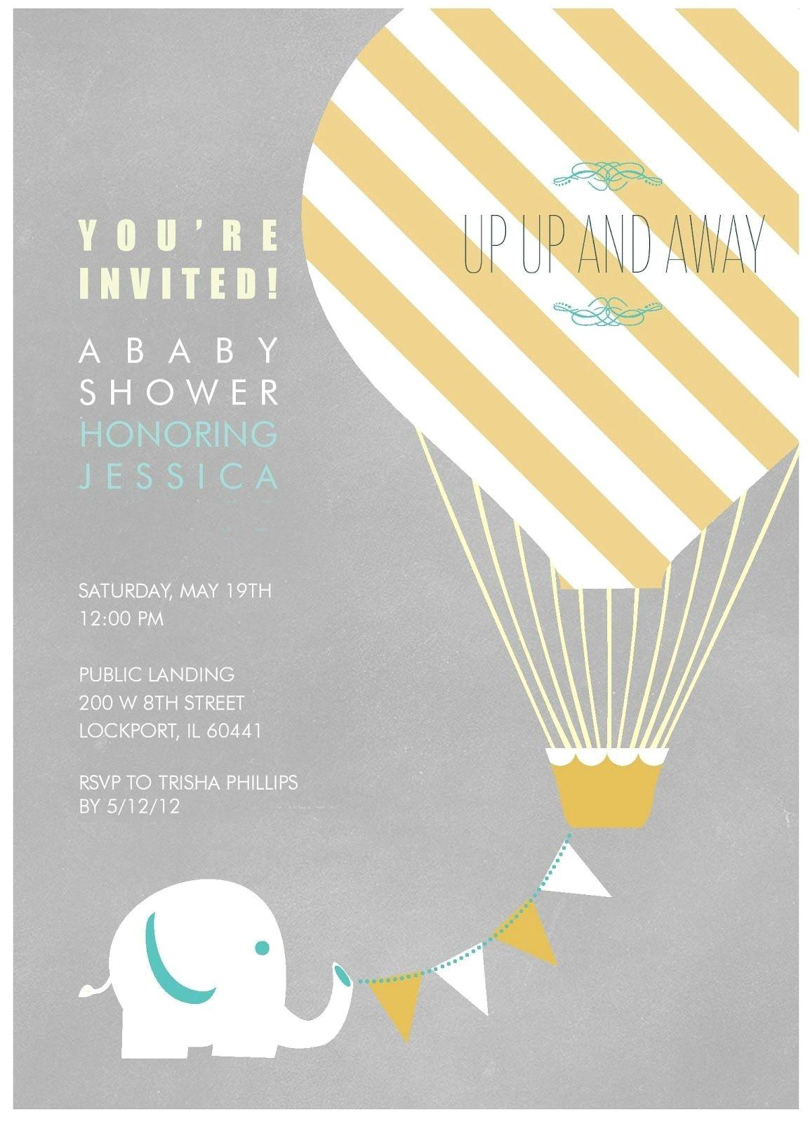Hot Air Balloon themed Baby Shower Invitations Elephant with Hot Air Balloon Birthday Party Invitation