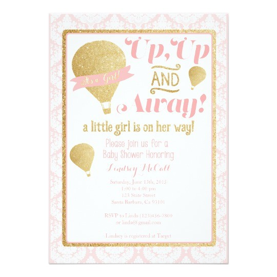 Hot Air Balloon themed Baby Shower Invitations Gold Pink Hot Air Balloon Baby Shower Invitation