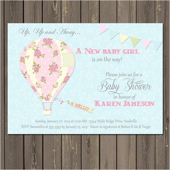 Hot Air Balloon themed Baby Shower Invitations Hot Air Balloon Baby Shower Invitation Balloon by