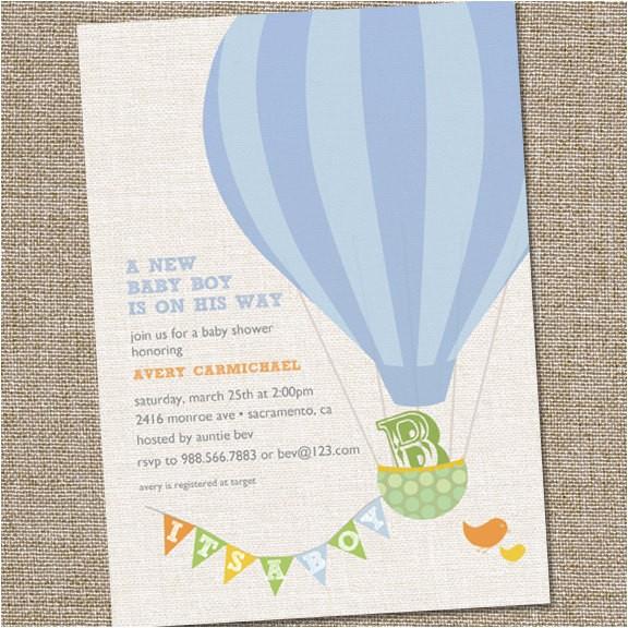 Hot Air Balloon themed Baby Shower Invitations Hot Air Balloon Baby Shower Invitation Hot Air Balloon