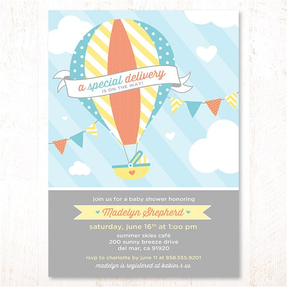 Hot Air Balloon themed Baby Shower Invitations Hot Air Balloon Baby Shower Invitations Blue and Yellow by