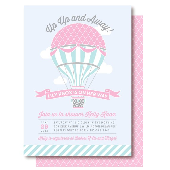 Hot Air Balloon themed Baby Shower Invitations Hot Air Balloon Baby Shower Invitations by Delightpaperie