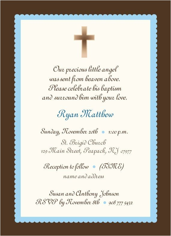 Invitation for Baptism Words Baby Boy Baptism Invitation Boy or Girl Baby Boy