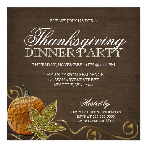 Invitation for Thanksgiving Party Thanksgiving Dinner Party Invitations Personalized