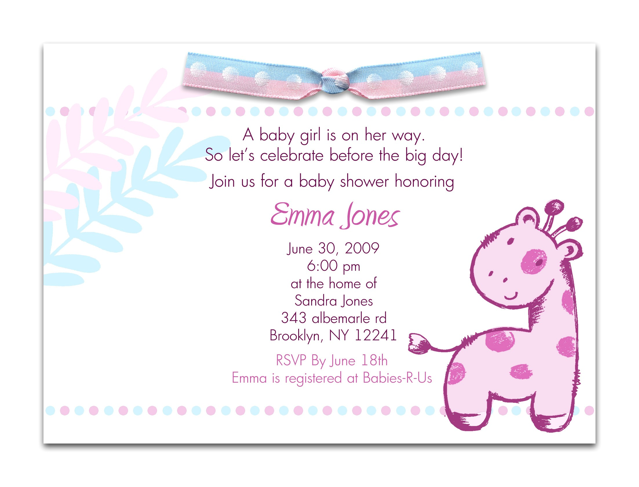 Invitation Wording for Baby Shower Baby Shower Invitation Wording for A Girl