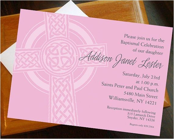 Irish Baptism Invitations Baptism First Munion Invitation Irish Cross Customized