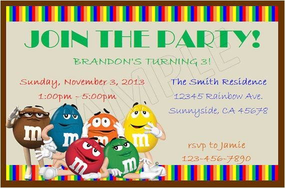M and M Birthday Invitations M&m S Birthday Diy Custom Invitations