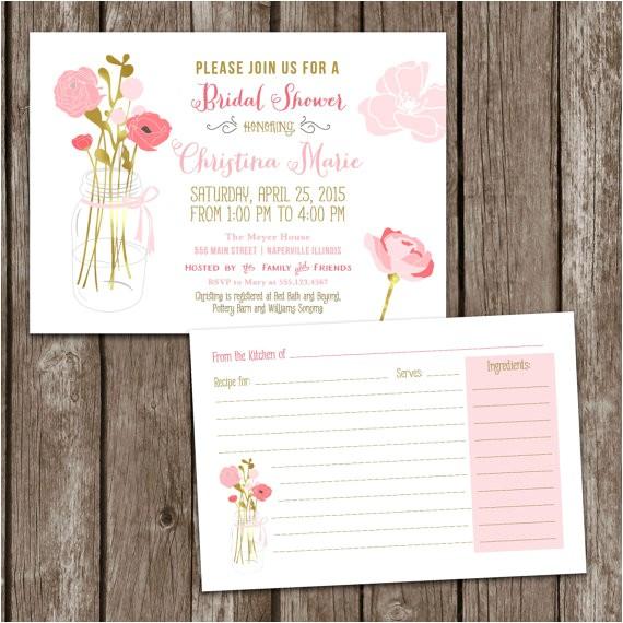 Mason Jar Bridal Shower Invitations with Recipe Cards Sale Digital Printable Mason Jar Bridal Shower