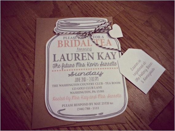 Mason Jar Invitations for Bridal Shower Mason Jar Bridal Tea Invitation Bridal Shower by Neillydesign