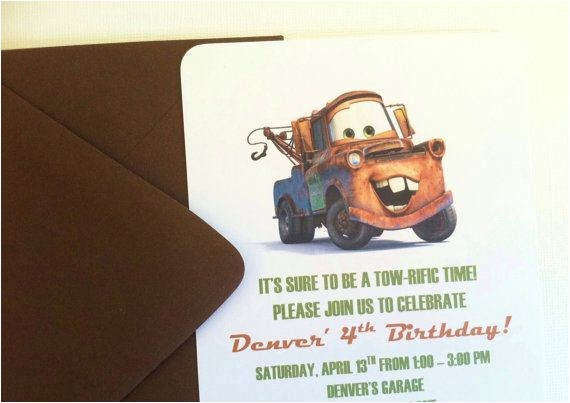 Mater Birthday Invitations Cars tow Mater Inspired Birthday Party Invitation