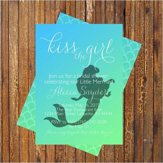 Mermaid Bridal Shower Invitations Little Mermaid Bridal Shower Invitation by Muniqueprints