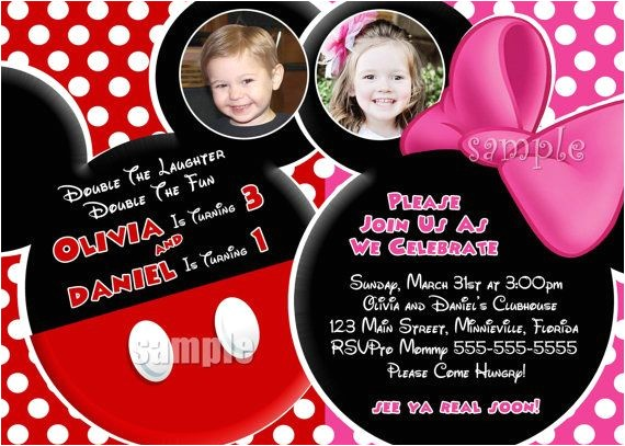 Mickey and Minnie Mouse Birthday Invitations for Twins Huge Selection Minnie Mouse Birthday Invitation Pink