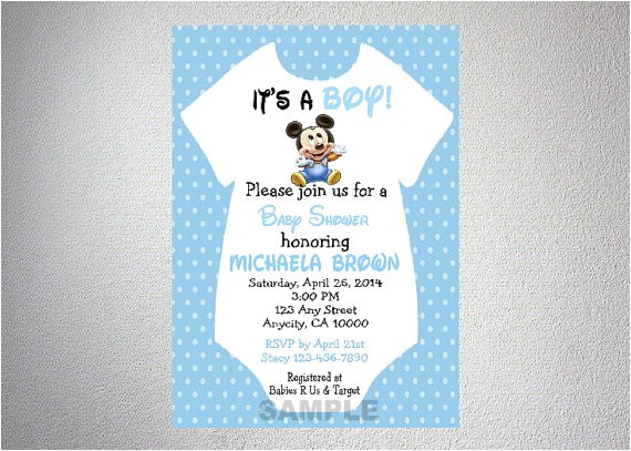 Mickey Mouse Baby Shower Invitations for A Boy Baby Mickey Mouse Esie Boy Baby Shower by Dpiexpressions