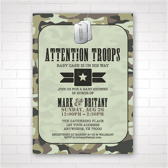 Military Baby Shower Invitations Diy Army themed Baby Shower Invitation