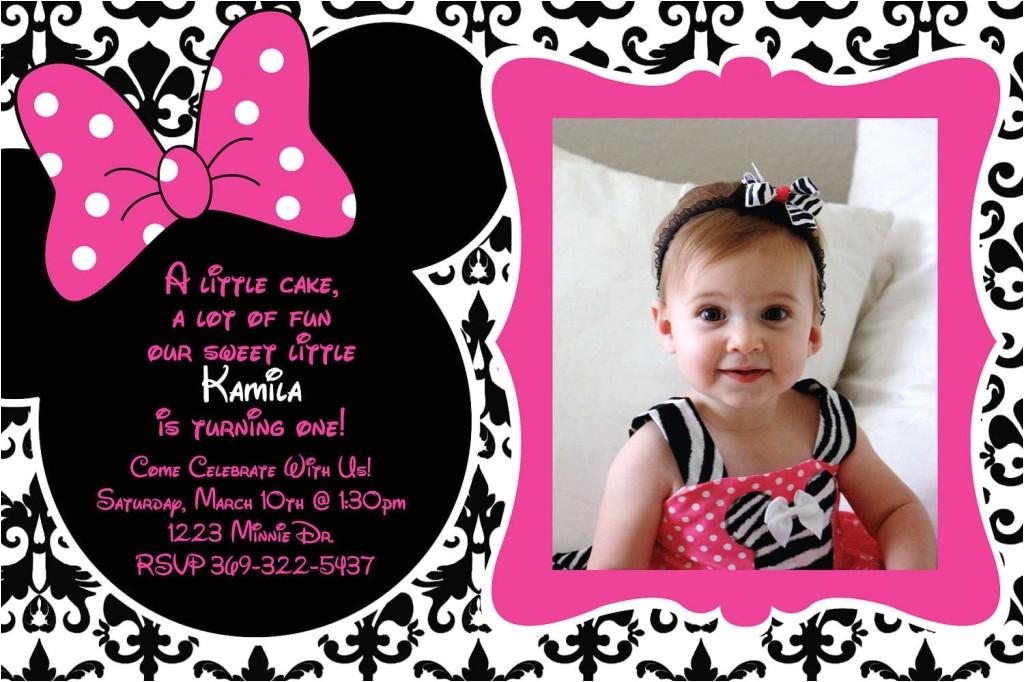 Minnie Mouse 1st Birthday Photo Invitations Free Printable 1st Birthday Minnie Mouse Invitation