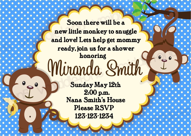 Monkey Baby Shower Invitations for Boys Monkey Baby Shower Invitation Boy and Girl Options Print Your