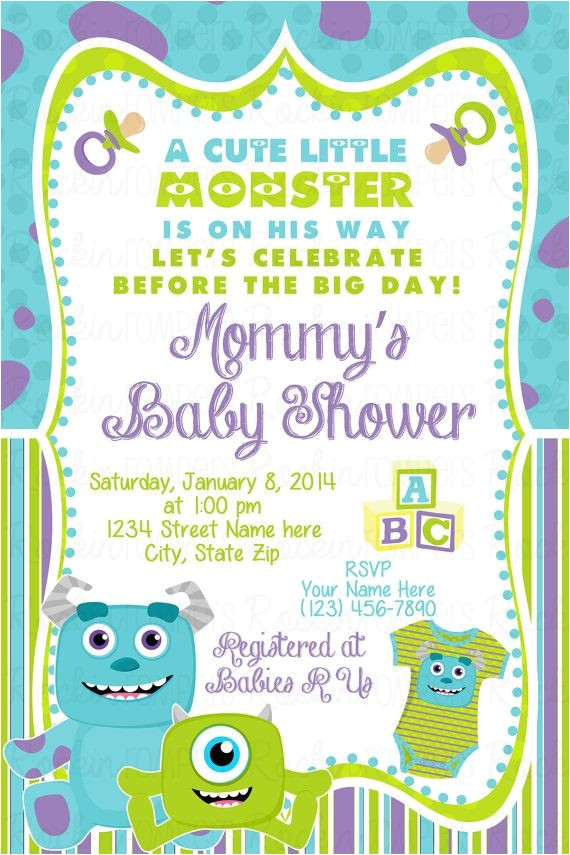 Monster Inc Baby Shower Invites Monsters Inc Baby Shower Invitation by Rockinrompers On