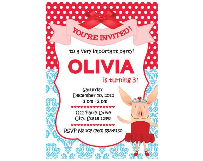 Olivia the Pig Birthday Invitations Olivia Custom Party Invitation Version 2 for Kim You Print