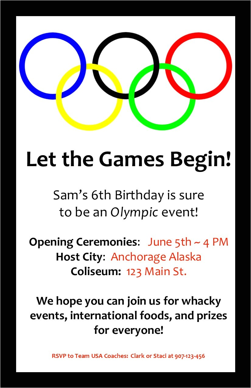 Olympic Birthday Party Invitations Printable An Olympic Birthday Party Profoundly ordinary