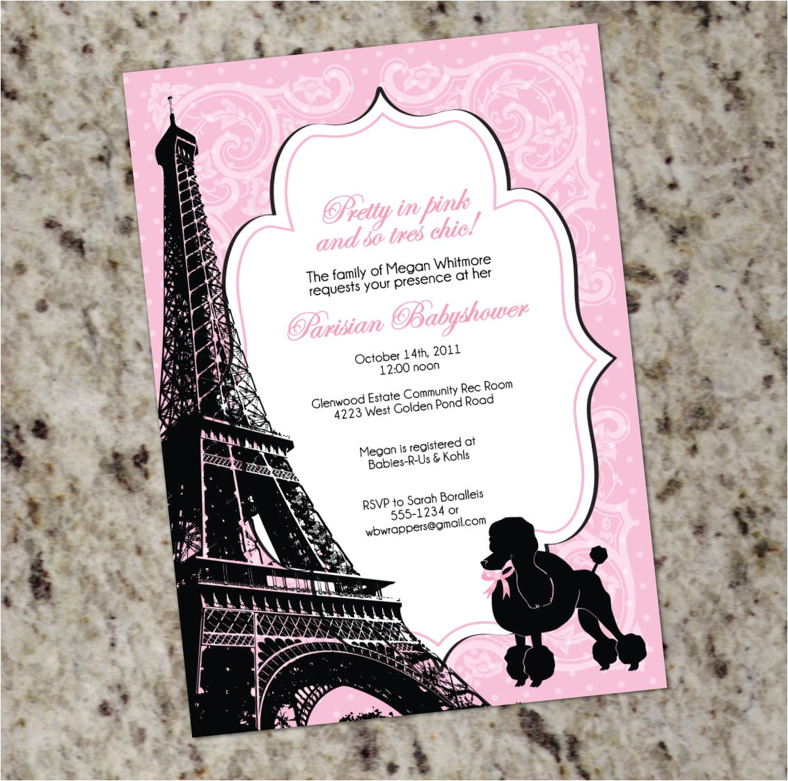 Paris themed Baby Shower Invites Paris themed Baby Shower Invitation Pink and Black French