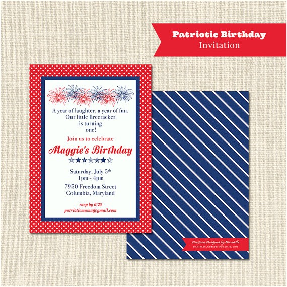 Patriotic First Birthday Invitations Patriotic Birthday Invitation 1st Birthday Red White and