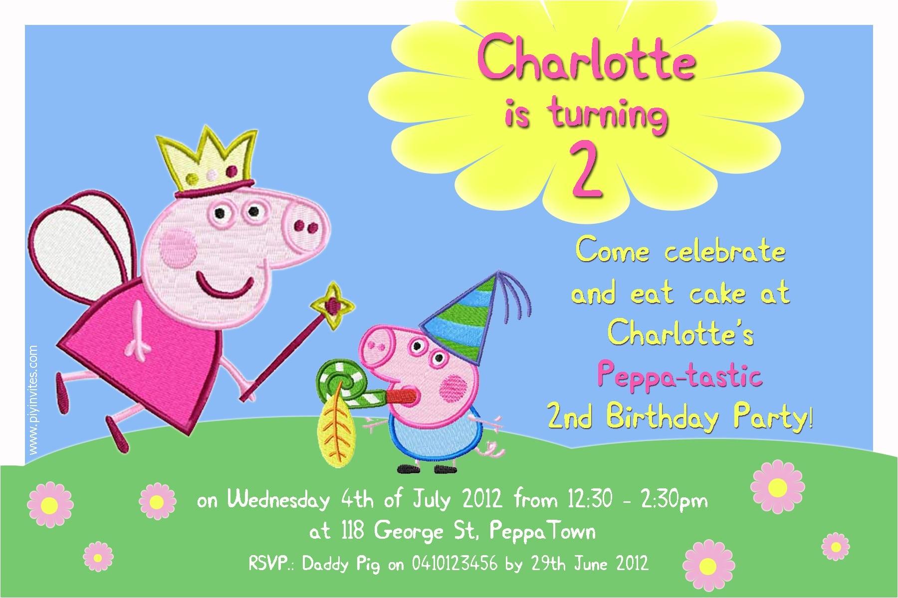 Peppa Pig Birthday Party Invitation Template Free Birthday Invitation Word Template Peppa Pig