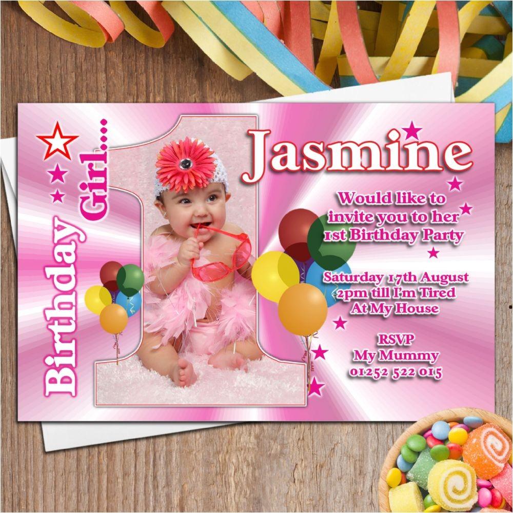 Personalised 1st Birthday Invitations Girl Uk 10 Girls Personalised First 1st Birthday Party Photo