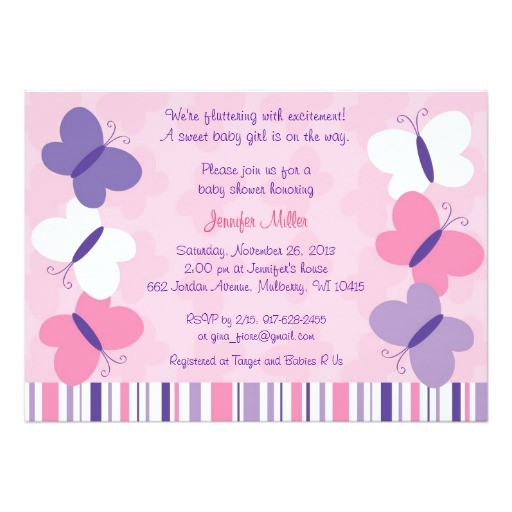 Pink and Lavender Baby Shower Invitations Pink & Purple butterfly Baby Shower Invitations